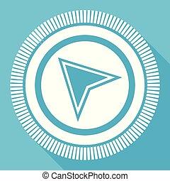 Navigation flat vector icon, compas square blue web button