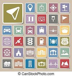 navigation, icônes, autocollant