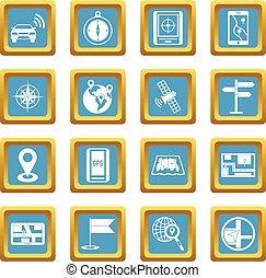 navigation, icônes, azur