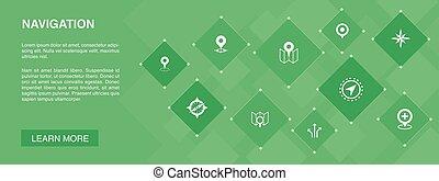 navigation, icônes, bannière, gps, carte, concept., direction, emplacement, 10