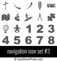 Navigation. Icon set 3. Gray icons on white background.