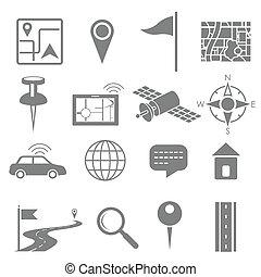 Navigation icon set for GPS application - illustration of...