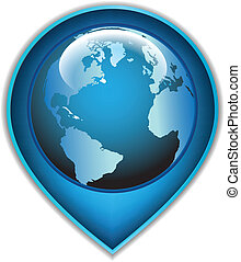 Navigation icon with a globe planet. Vector