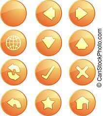 Navigation icons - Basic navigation icon set , glossy aqua ...