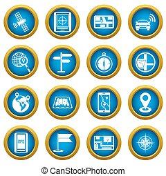 Navigation icons blue circle set
