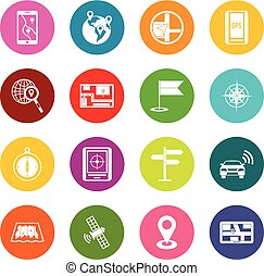 Navigation icons many colors set