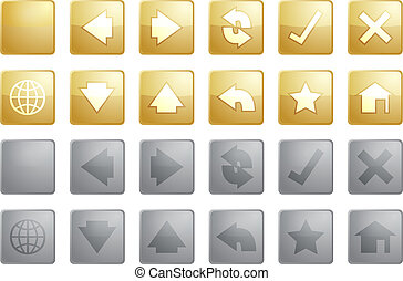 Navigation icons - Navigation icon set of glossy buttons, ...