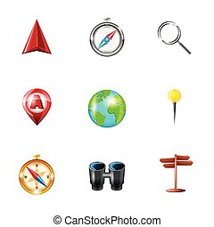 Navigation icons realistic set