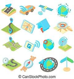 Navigation icons set, isometric 3d style style