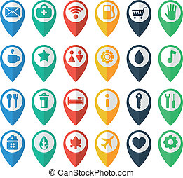navigation icons, set of flat icons depicting objects, ...