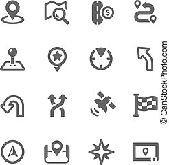 Simple Icons related to Navigation.