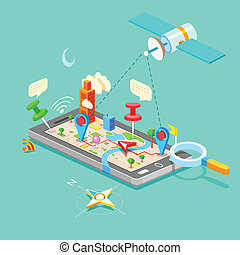 Navigation in Mobile Phone - illustration of GPS in mobile...