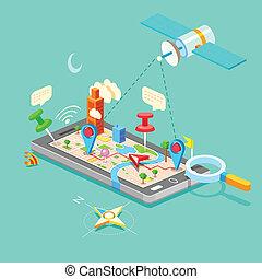 navigation, in, rörlig telefonera