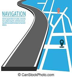 navigation, indicateur, épingle