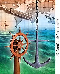 Navigation instruments composition on a sea background. Digital illustration.