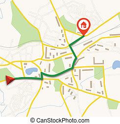 navigation, karta, med, stift