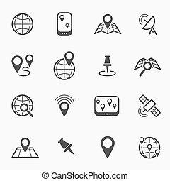 navigation, ligne, icônes, emplacement