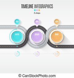 Navigation map infographic 3 steps timeline concept. Winding roa