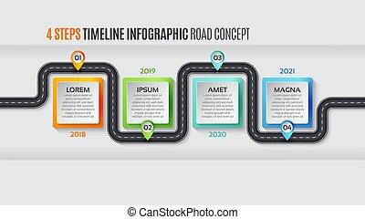 Navigation map infographic 4 steps timeline concept