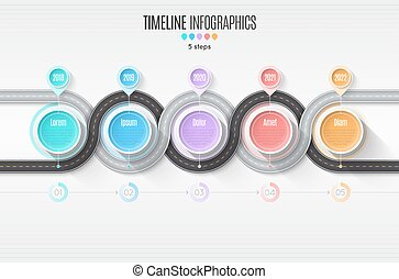 Navigation map infographic 5 steps timeline concept. Winding roa