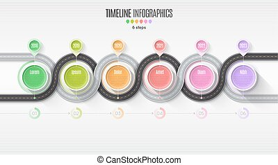 Navigation map infographic 6 steps timeline concept. Winding roa