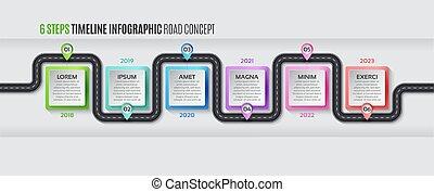 Navigation map infographic 6 steps timeline concept