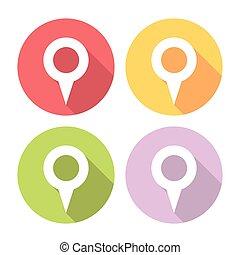 Navigation Map Location Pin Flat Icons Set