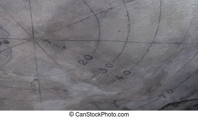 Navigation map on stone - A worms eye view shot of a...