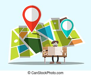 Navigation Map with Pins and Man on Bench - Vector