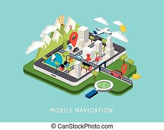 navigation, mobile, illustration, isométrique, plat, 3d
