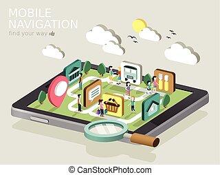 navigation, mobile, isométrique, infographic, plat, 3d