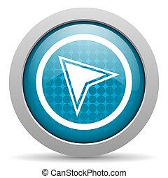 navigation, nät, glatt, blå, ikon, cirkel