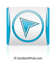 navigation, nät, glatt, fyrkant, blå, ikon, vit