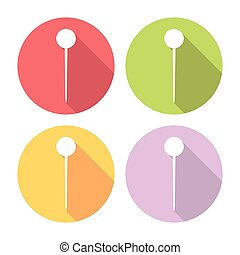 Navigation Needle Pin Flat Icons Set