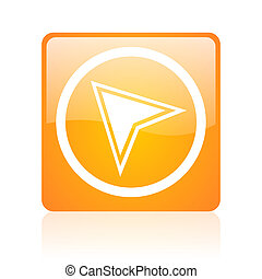 navigation orange square glossy web icon