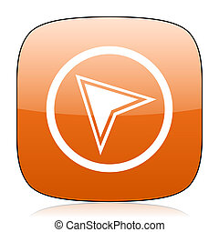 navigation orange square web design glossy icon