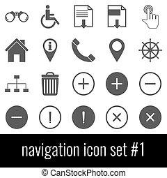 navigation., pictogram, set, 1., grijs, iconen, op wit, achtergrond.