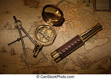 Navigation - Vintage map with compass and telescope