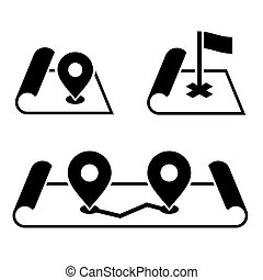 Navigation Pin on Map Icons Set. Vector