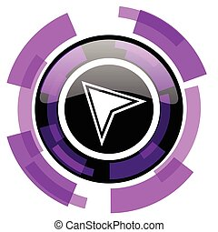 Navigation pink violet modern design vector web and smartphone icon. Round button in eps 10 isolated on white background.
