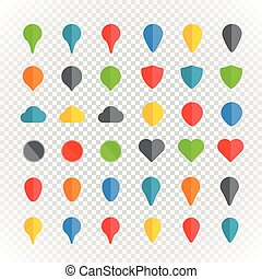 Navigation pins color collection on transparent background