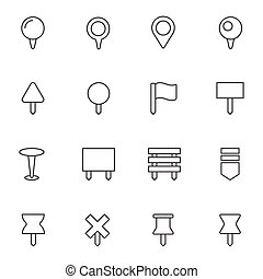 Navigation pins icons set