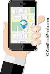 navigation, plat, concept., conception