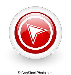 navigation red circle glossy web icon on white background