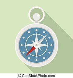 Navigation ship compass icon, flat style