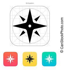 navigation, signe, vent, icône, rose