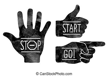 Navigation signs. Black hands silhouettes - pointing finger, stop hand and thumb up