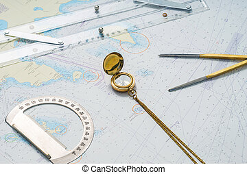 Navigation still-life composition with items on a map