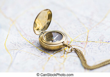 Navigation still-life with a map