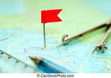 navigation supplies - red flag. point of arrival. ruler, ...